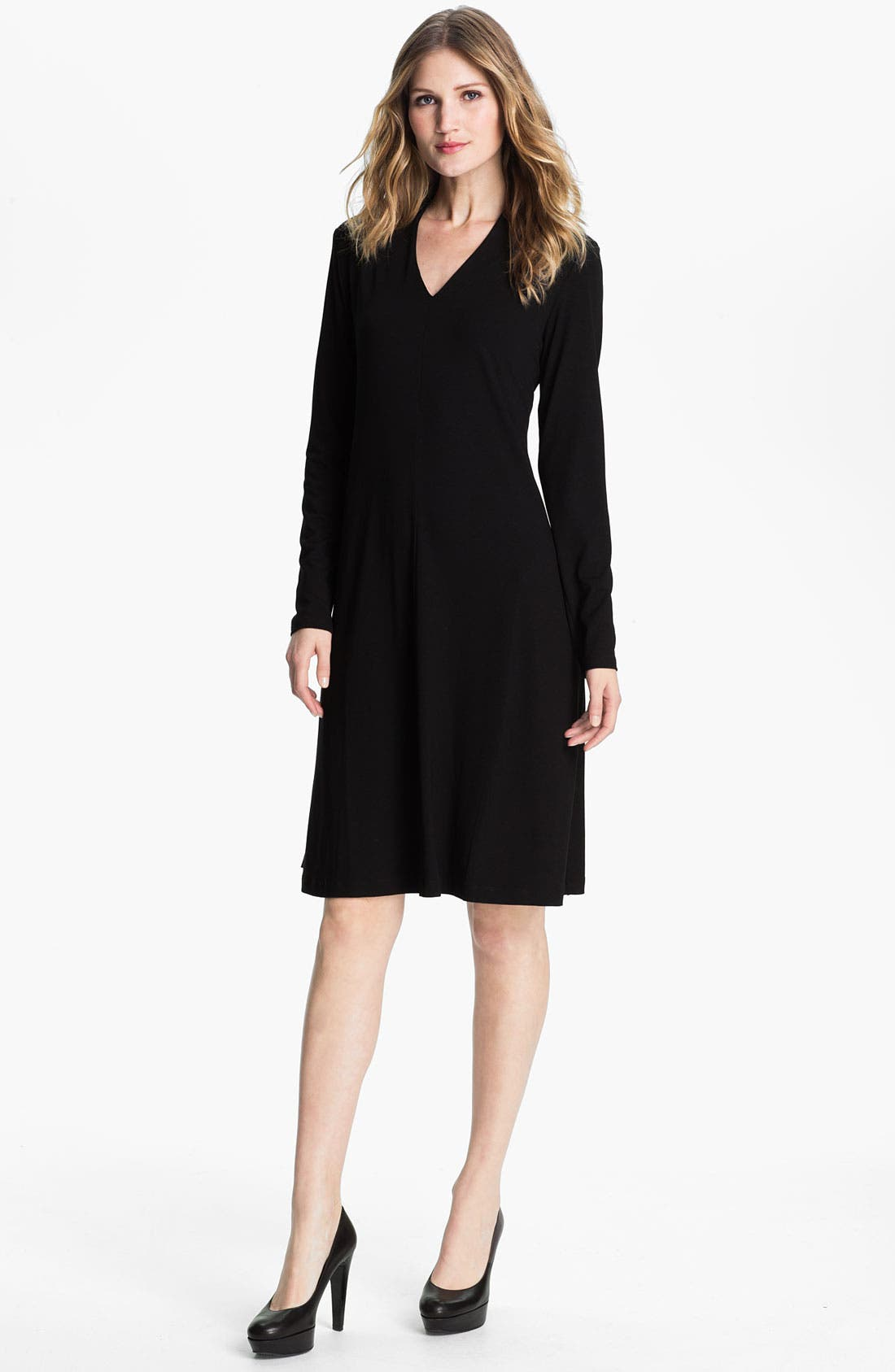 Alternate Image 1 Selected - Eileen Fisher V-Neck Dress (Online Exclusive)