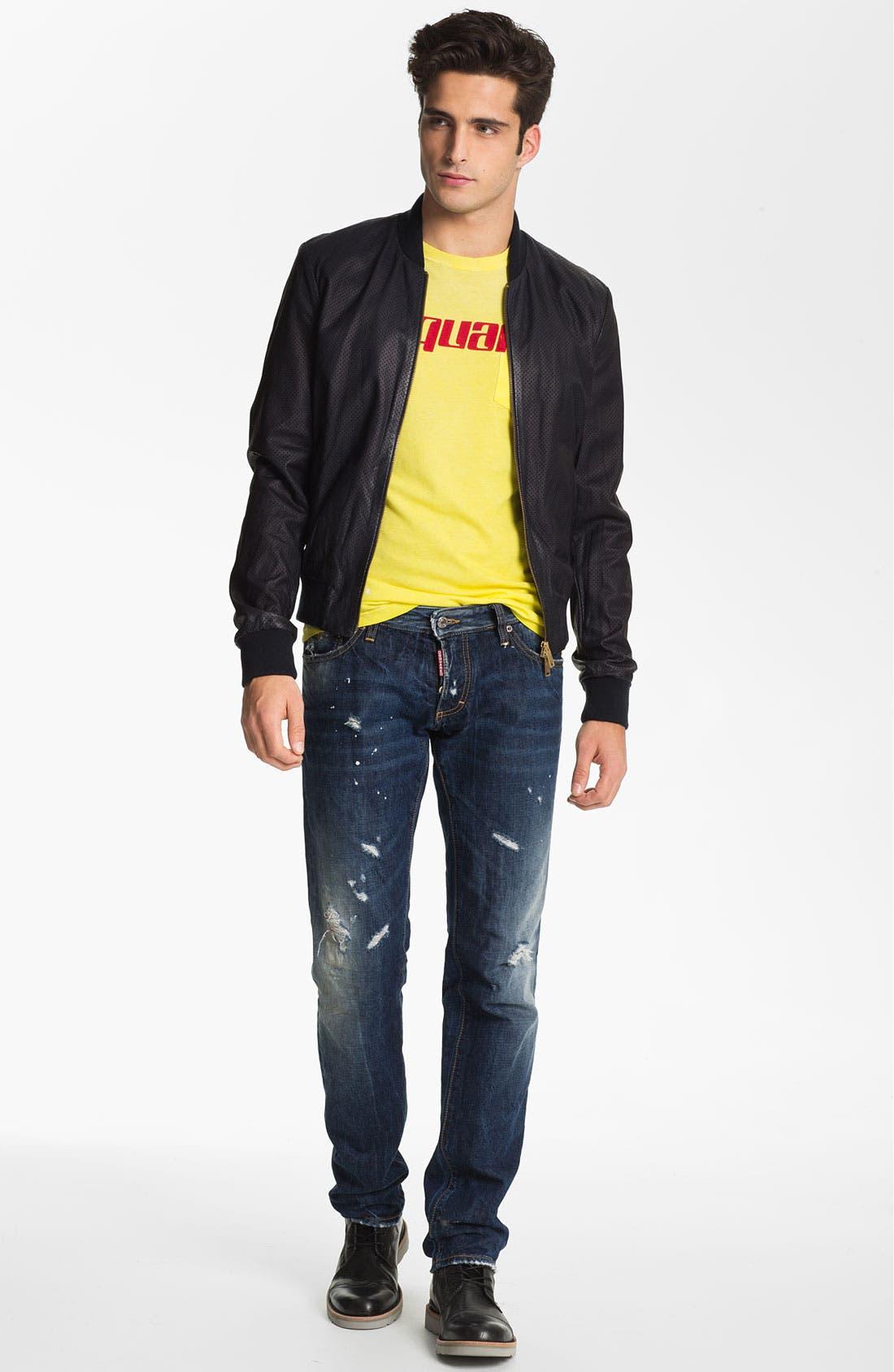 Alternate Image 5  - Dsquared2 Slim Fit Jeans (Distressed Blue)