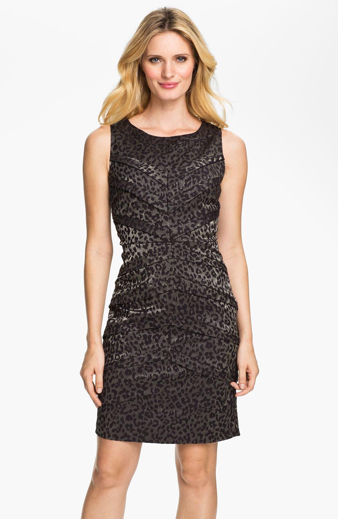 Main Image - Adrianna Papell Metallic Leopard Print Sheath Dress