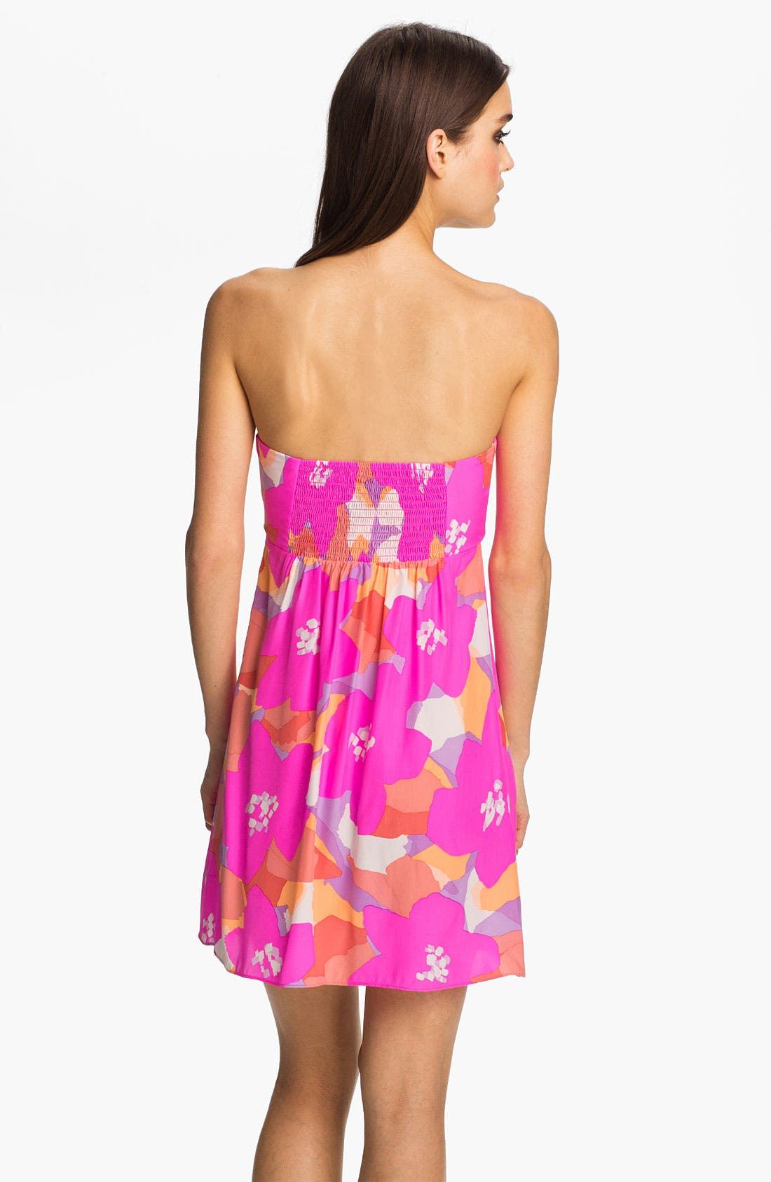 Alternate Image 2  - ALICE & TRIXIE 'Amanda' Strapless Print Silk Dress