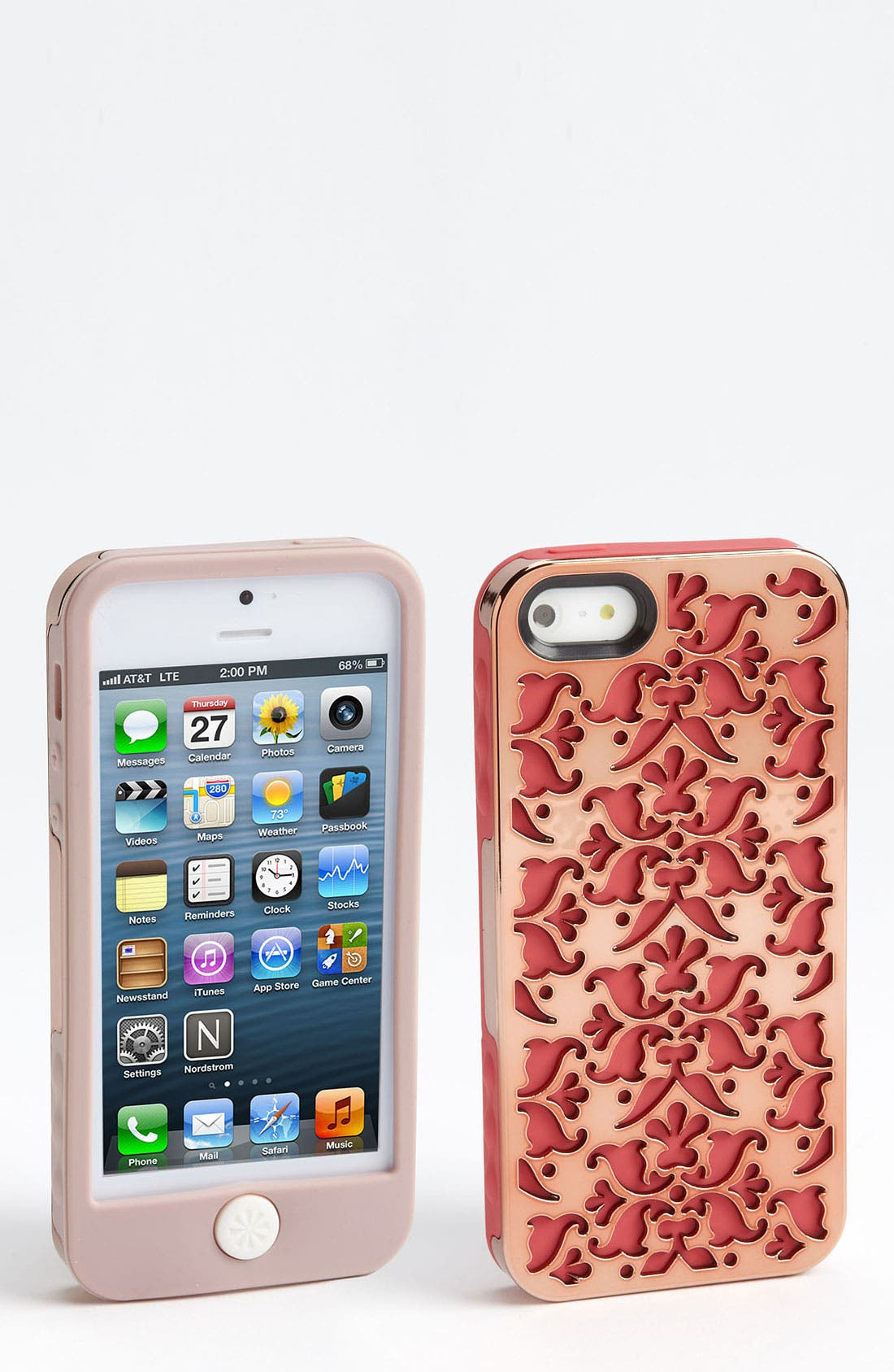 'Amsterdam' iPhone 5 Silicone Case Set,                             Main thumbnail 1, color,                             Champ Rose