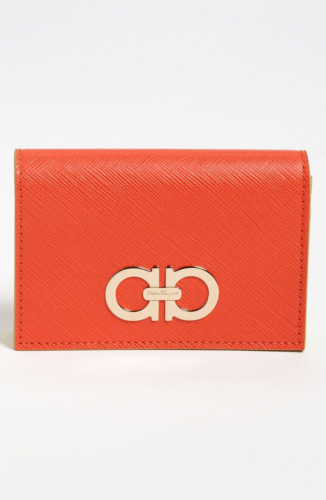 Main Image - Salvatore Ferragamo 'Gancini Icona' Leather Card Case