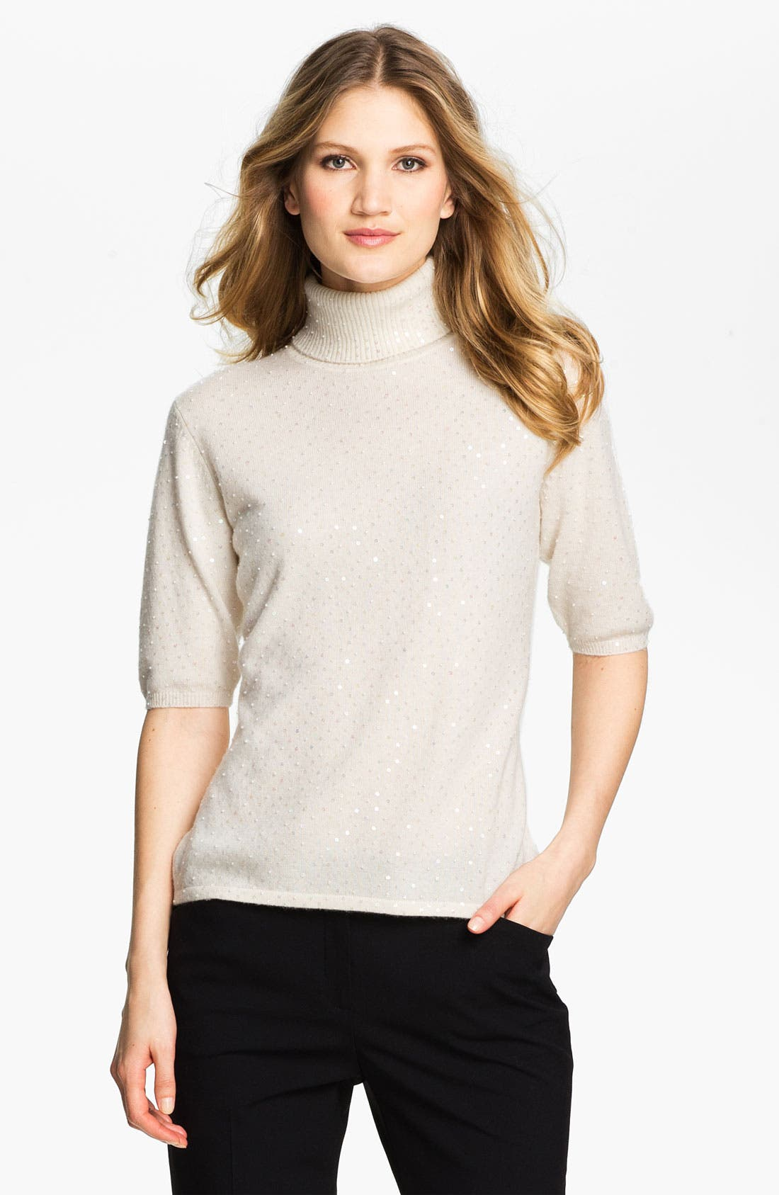 Alternate Image 1 Selected - Pure Amici Embellished Cashmere Turtleneck Sweater