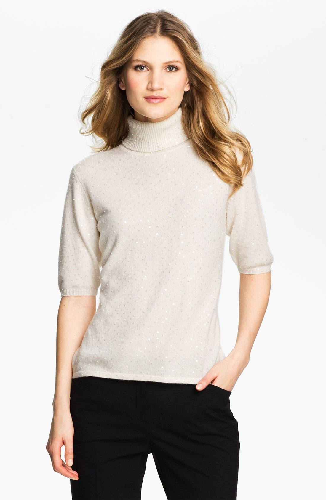 Main Image - Pure Amici Embellished Cashmere Turtleneck Sweater