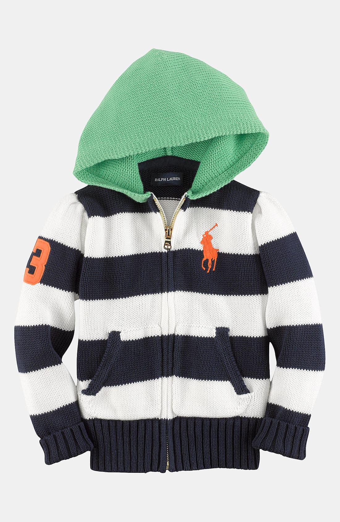 Alternate Image 1 Selected - Ralph Lauren Knit Hoodie Sweater (Toddler)