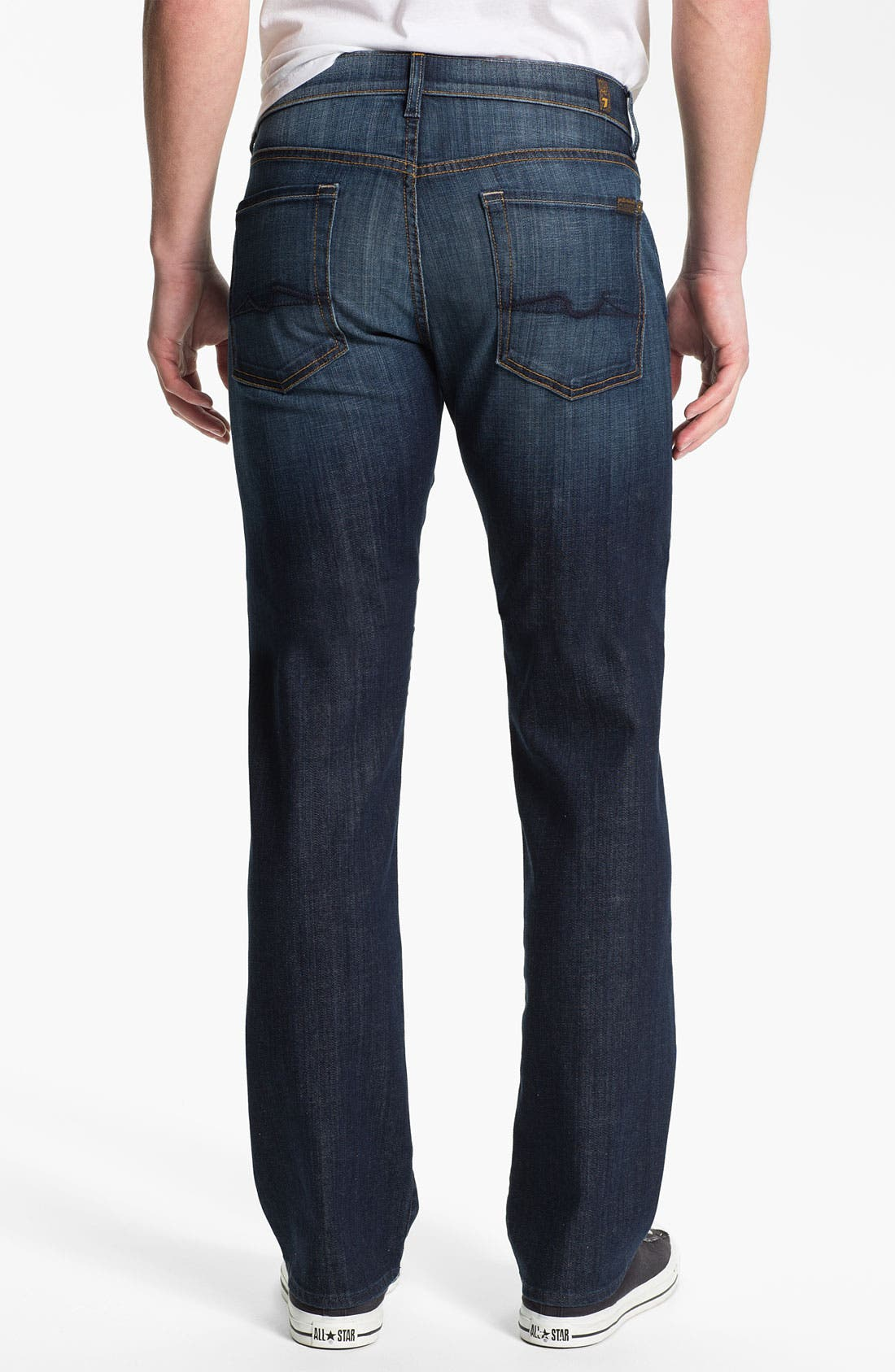 Alternate Image 1 Selected - 7 For All Mankind® 'Standard' Straight Leg Jeans (Worn L.A. Dark)
