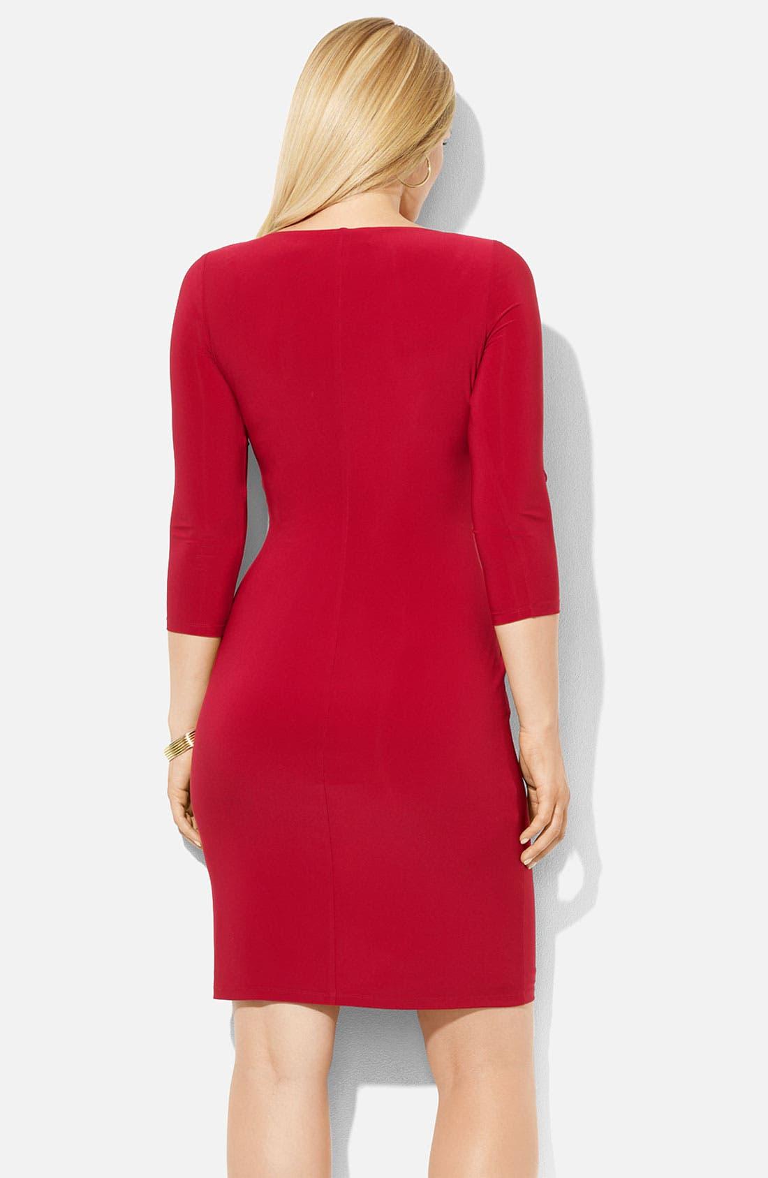 Alternate Image 2  - Lauren Ralph Lauren Surplice Jersey Sheath Dress (Plus)