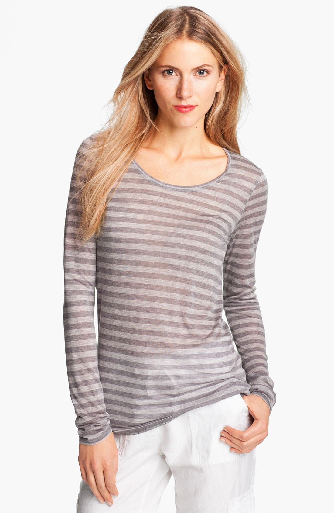 Alternate Image 1 Selected - Eileen Fisher Stripe Micromodal Tee
