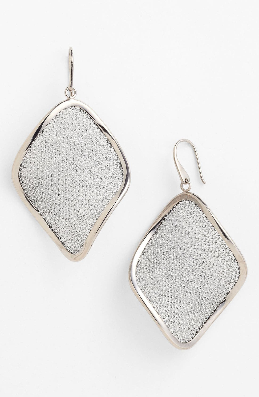 'Mesh' Large Drop Earrings,                             Main thumbnail 1, color,                             Silver