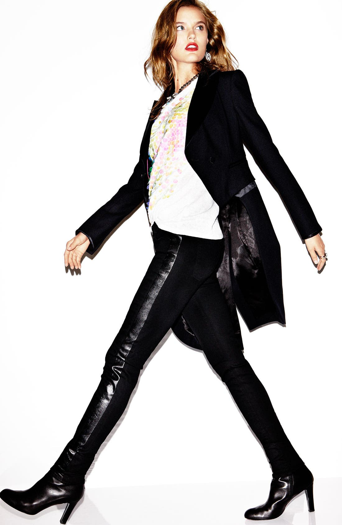 Alternate Image 4  - Juicy Couture Leather Tux Stripe Skinny Jeans (Lilia)