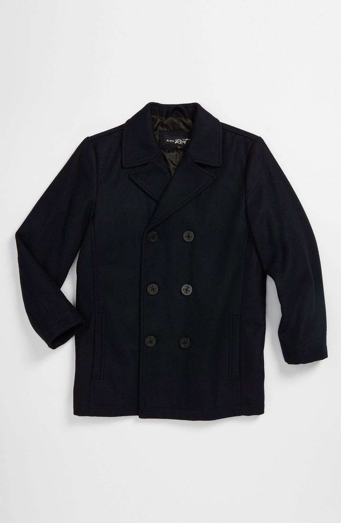 Main Image - Black Rivet Wool Blend Peacoat (Big Boys)