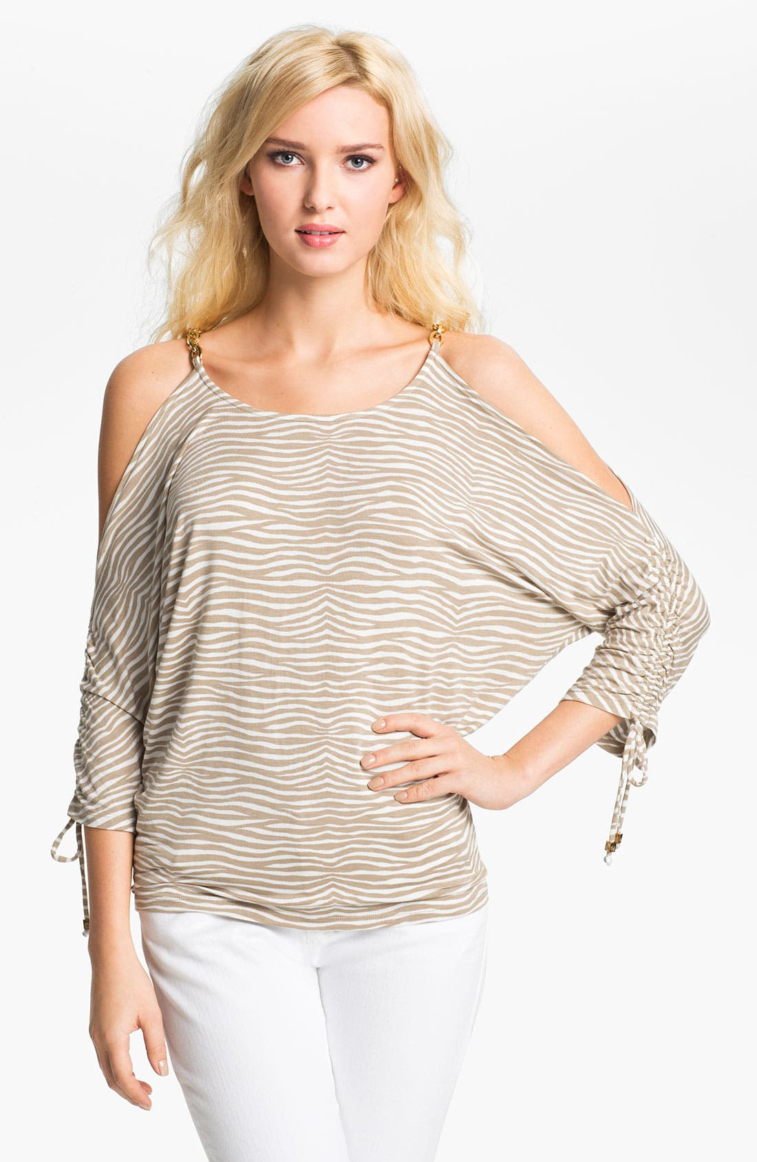 Main Image - MICHAEL Michael Kors Zebra Print Cold Shoulder Top