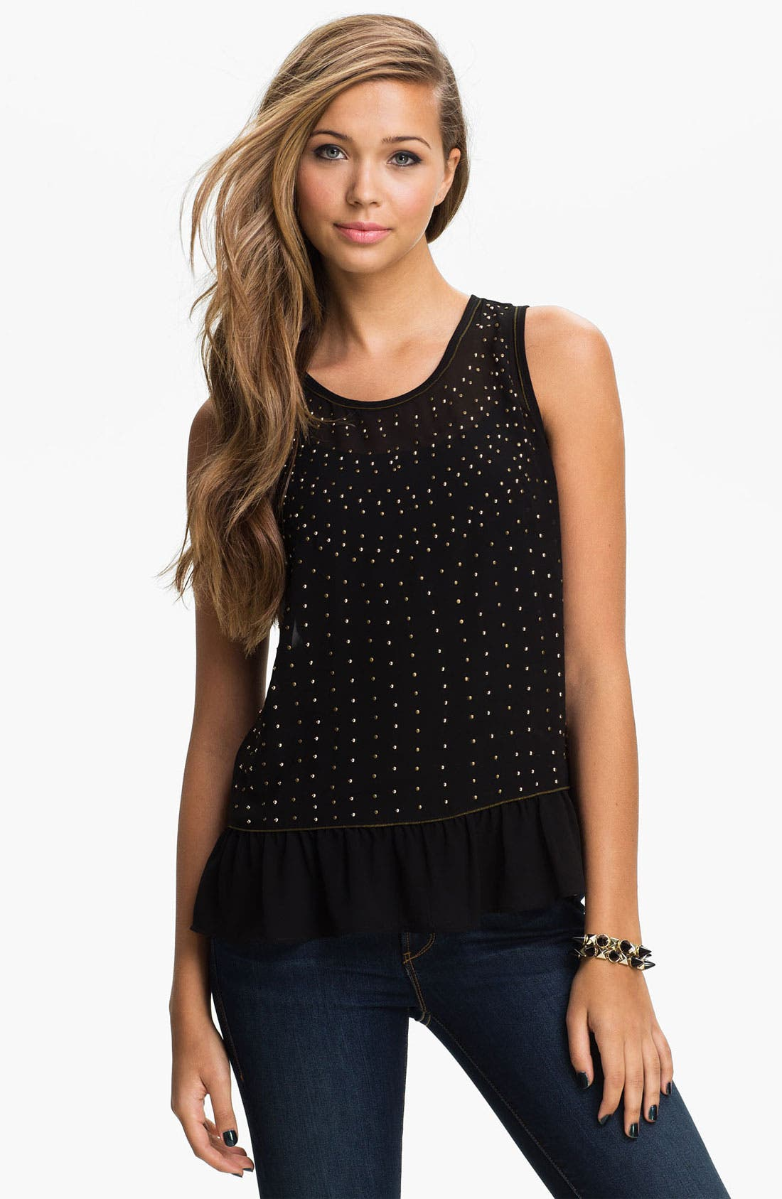Alternate Image 1 Selected - Chloe K Studded Ruffle Tank (Juniors)