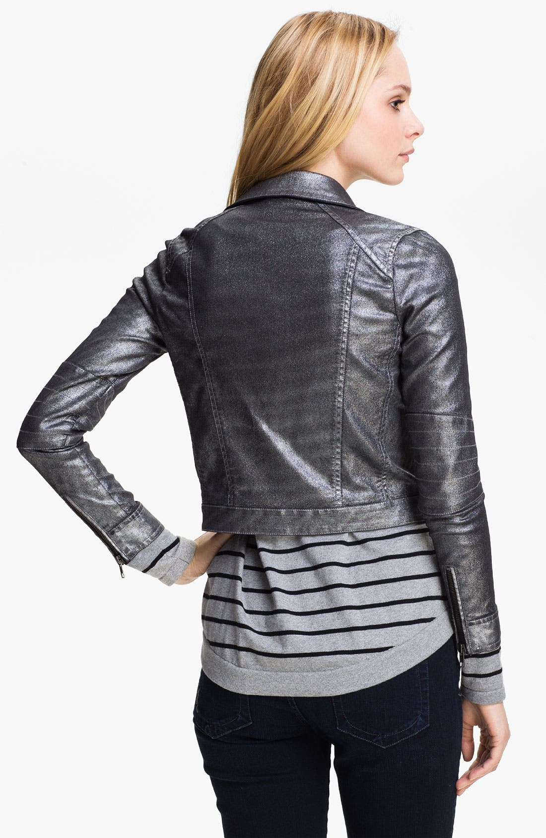 Alternate Image 2  - Two by Vince Camuto Metallic Moto Jacket