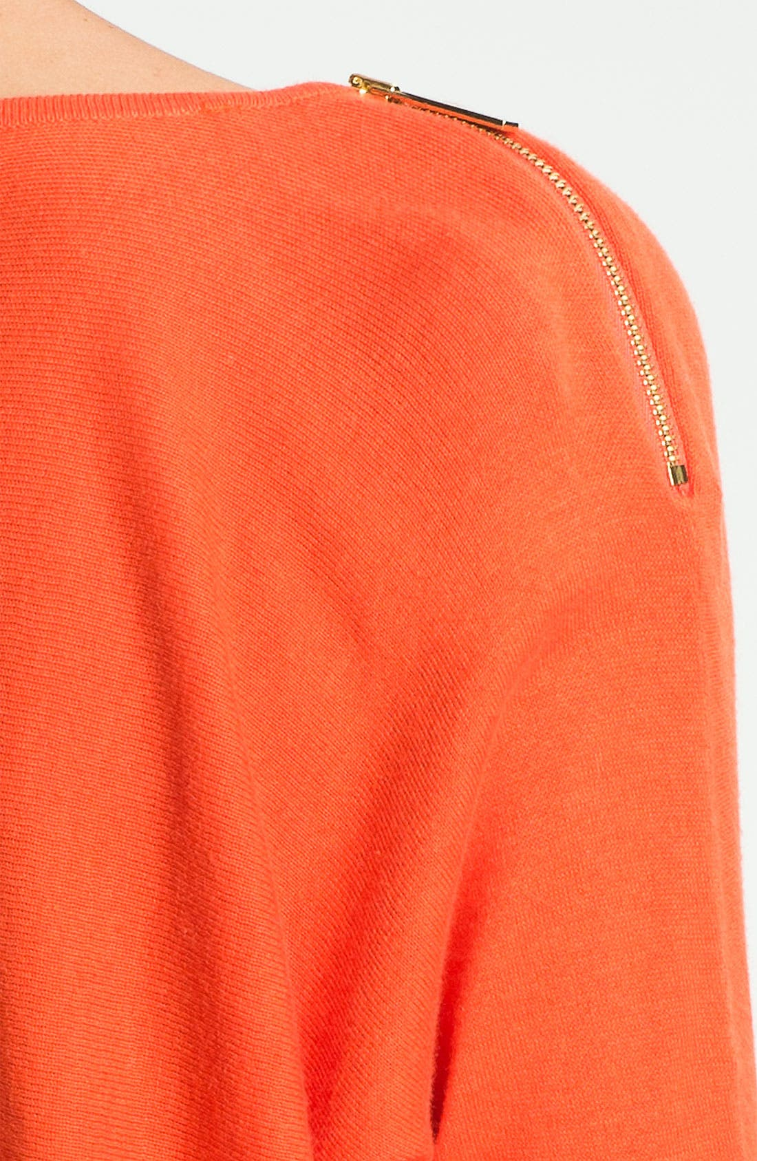 Zip Shoulder Sweater,                             Alternate thumbnail 3, color,                             Mandarin