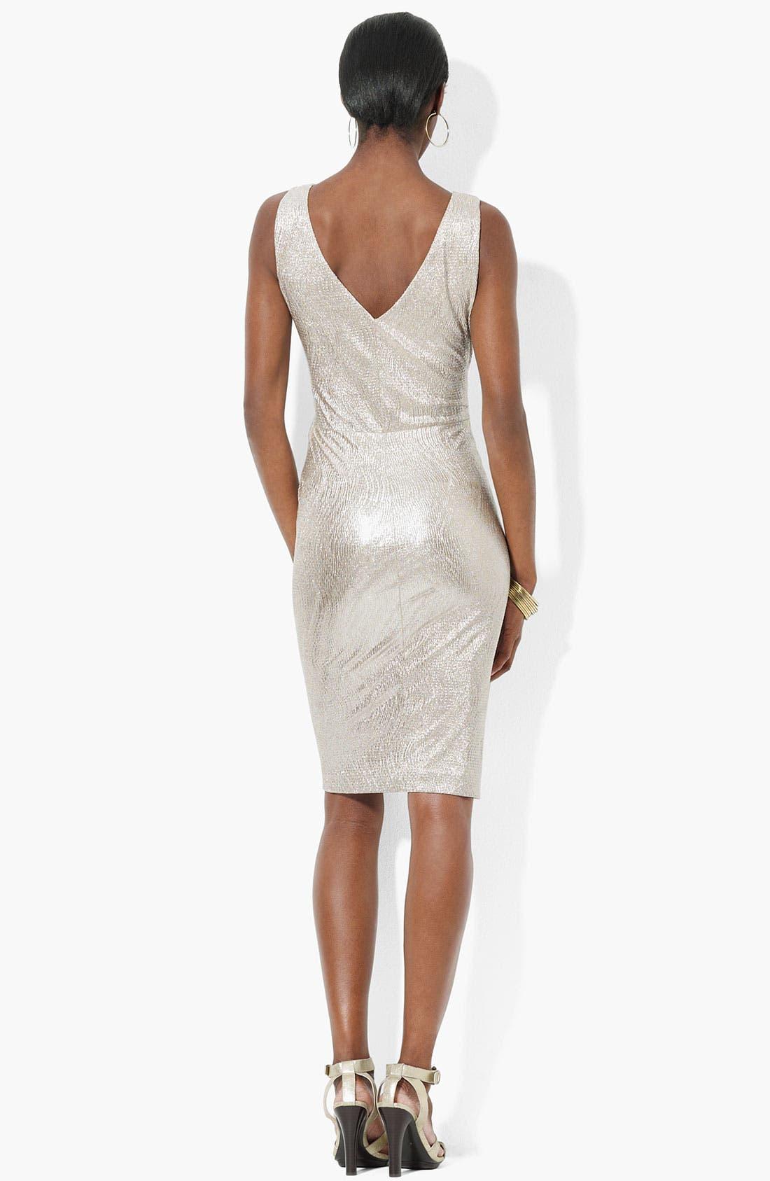 Alternate Image 2  - Lauren Ralph Lauren Sleeveless Metallic Knit Sheath Dress