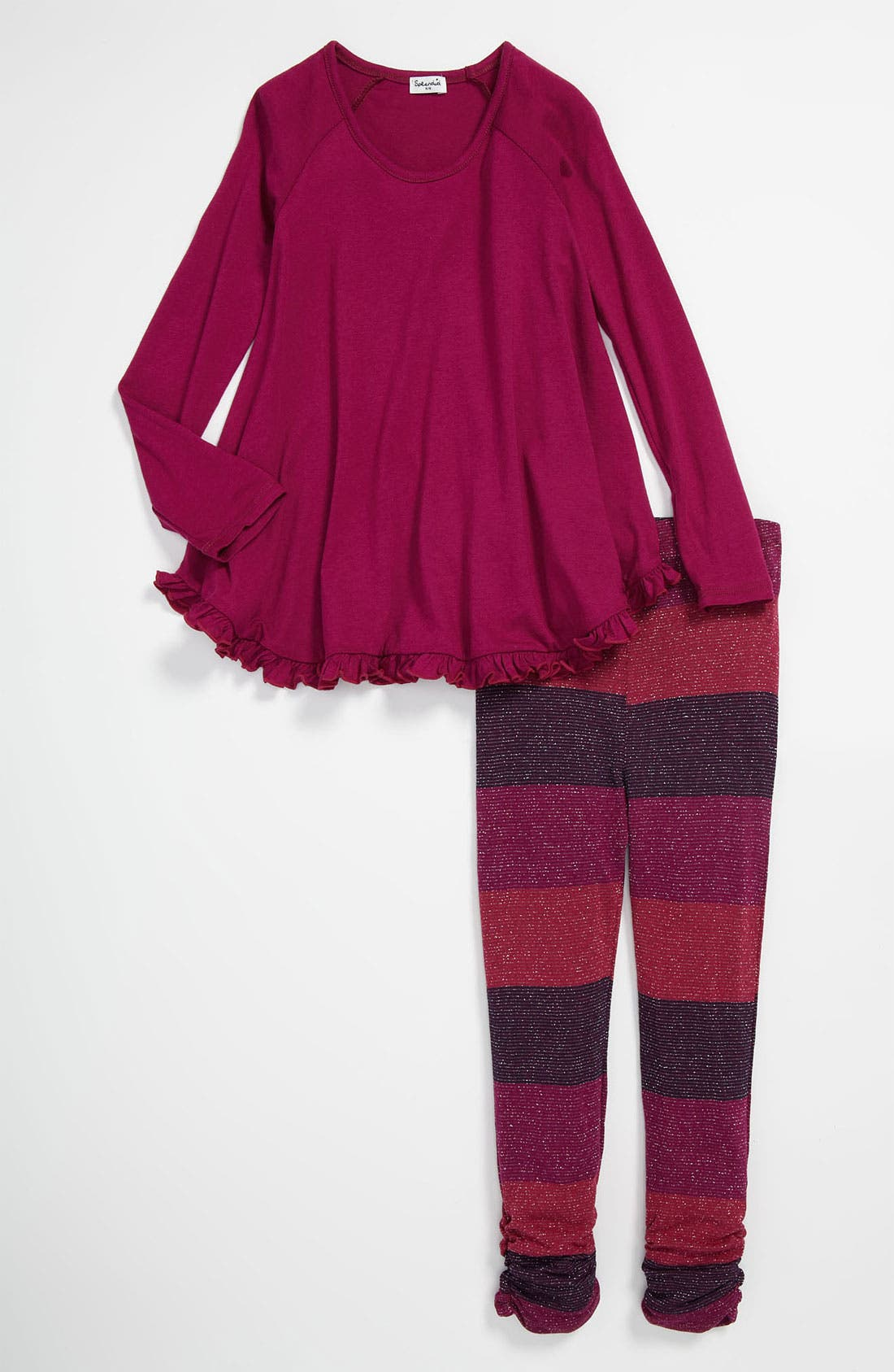 Alternate Image 1 Selected - Splendid Tunic & Shimmer Stripe Leggings (Little Girls)