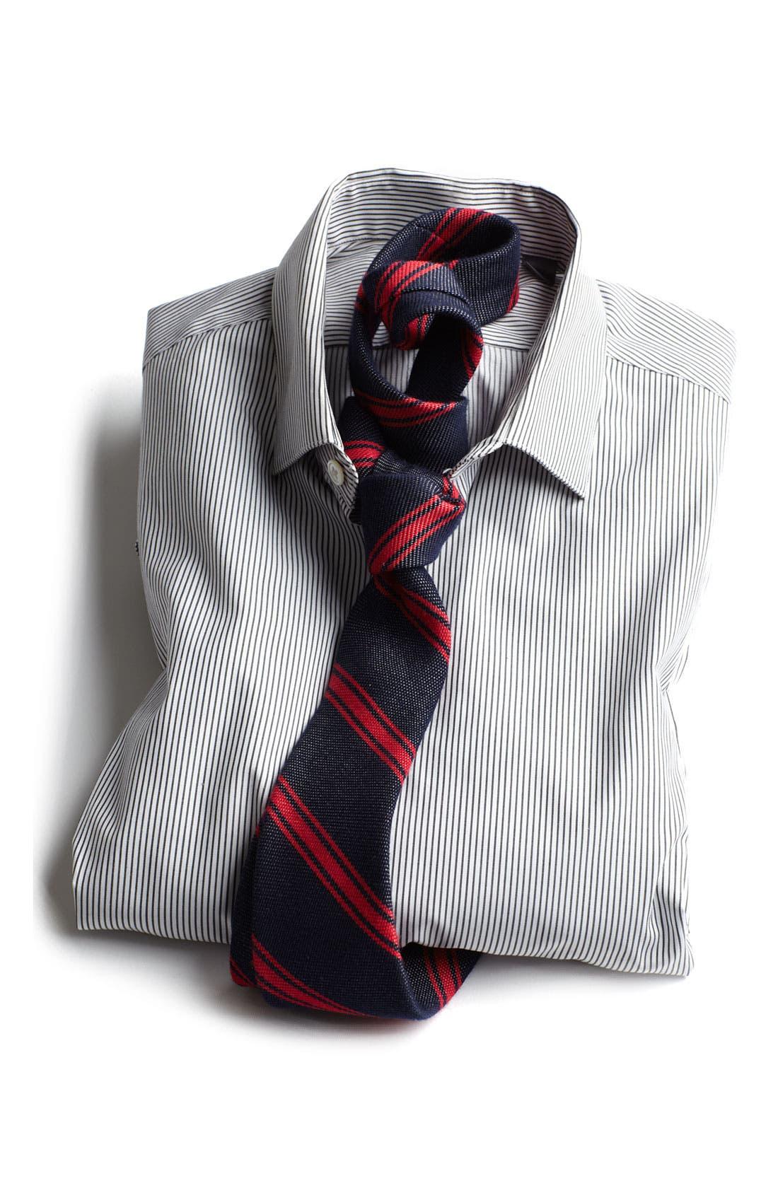 Trim Fit Stripe Dress Shirt,                             Alternate thumbnail 3, color,                             Black Ink