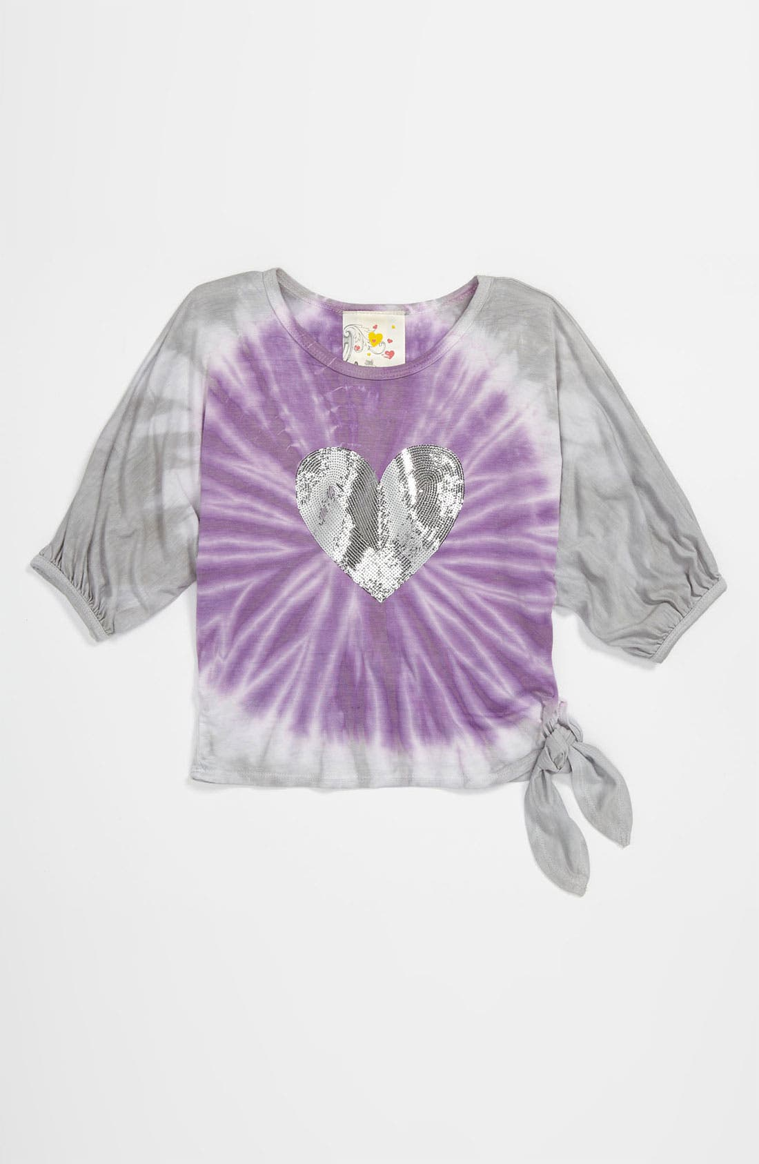 Main Image - Jenna & Jessie Sequin Heart Tee (Little Girls)