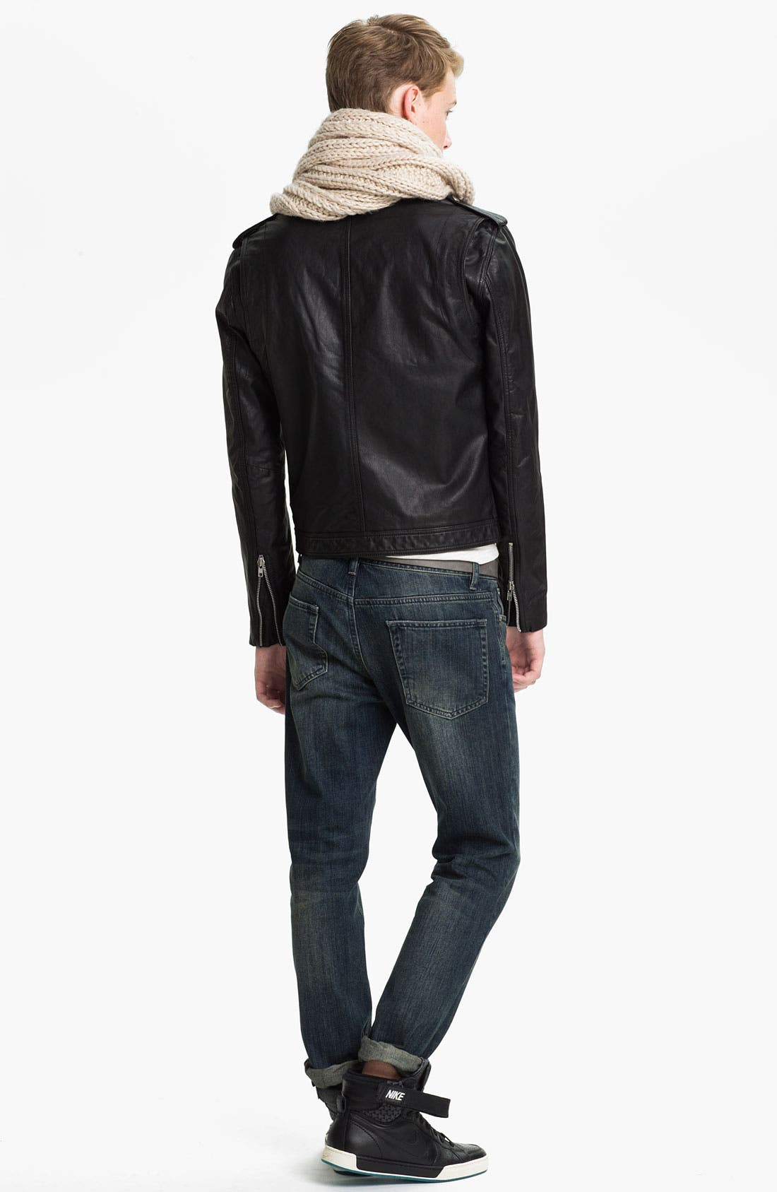 Alternate Image 5  - Topman Leather Biker Jacket