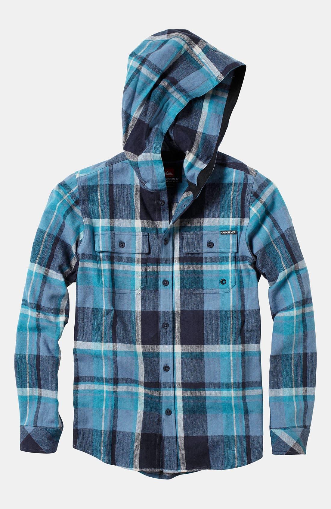 Main Image - Quiksilver 'Four Shore' Hooded Flannel Shirt (Little Boys)
