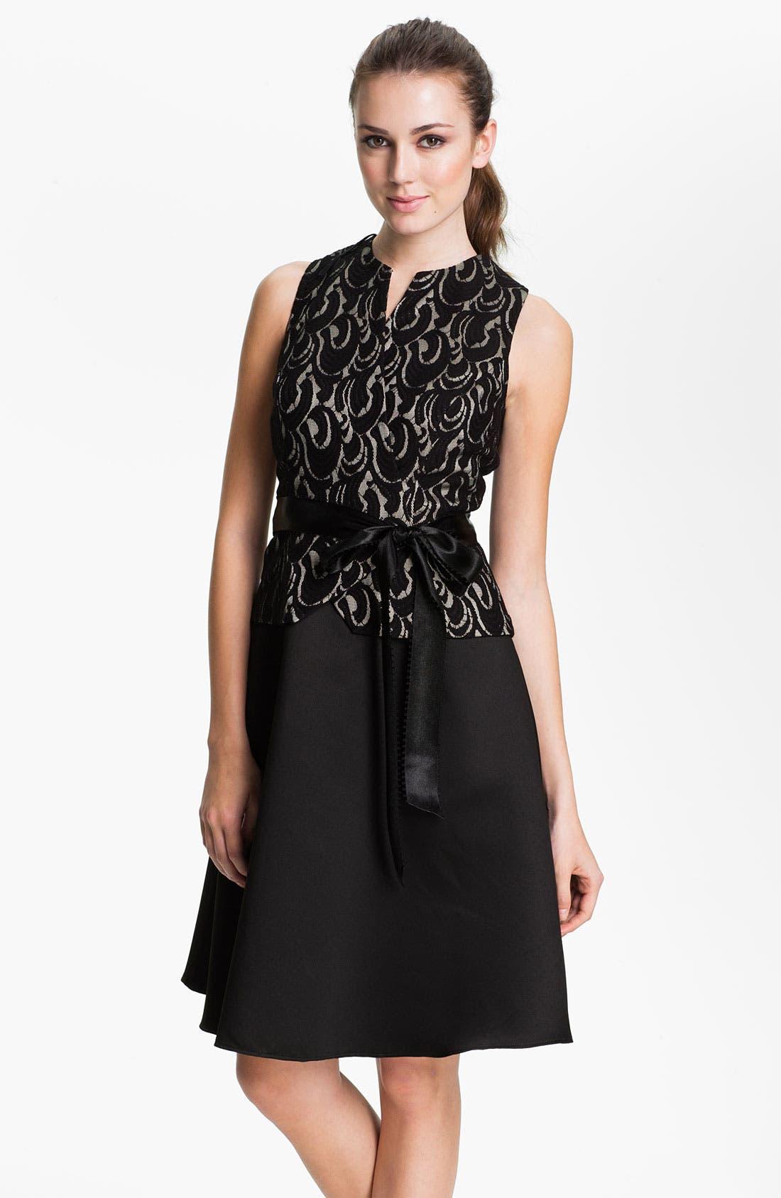 Alternate Image 1 Selected - Patra Lace Appliqué Satin Fit & Flare Dress
