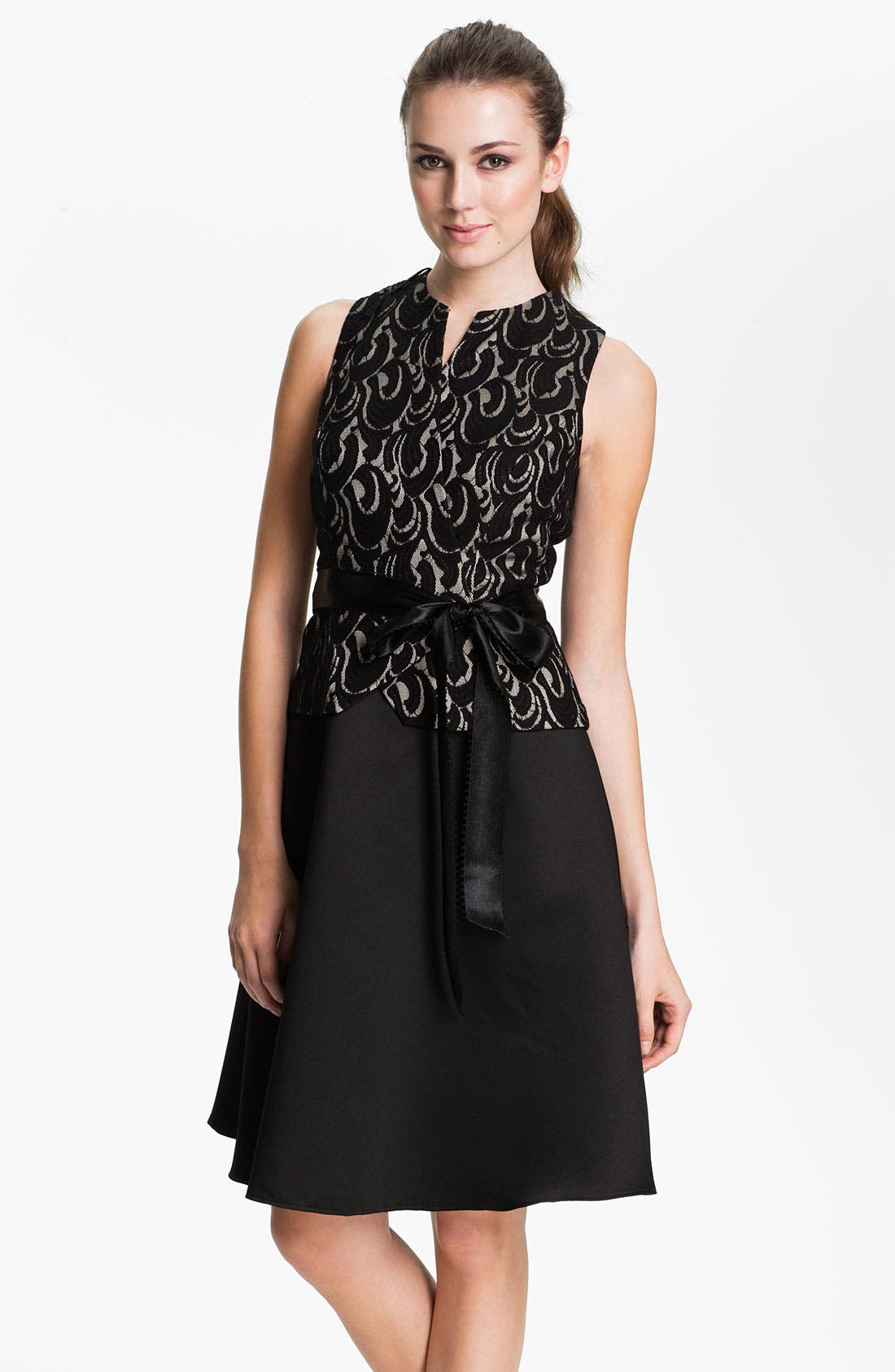 Main Image - Patra Lace Appliqué Satin Fit & Flare Dress