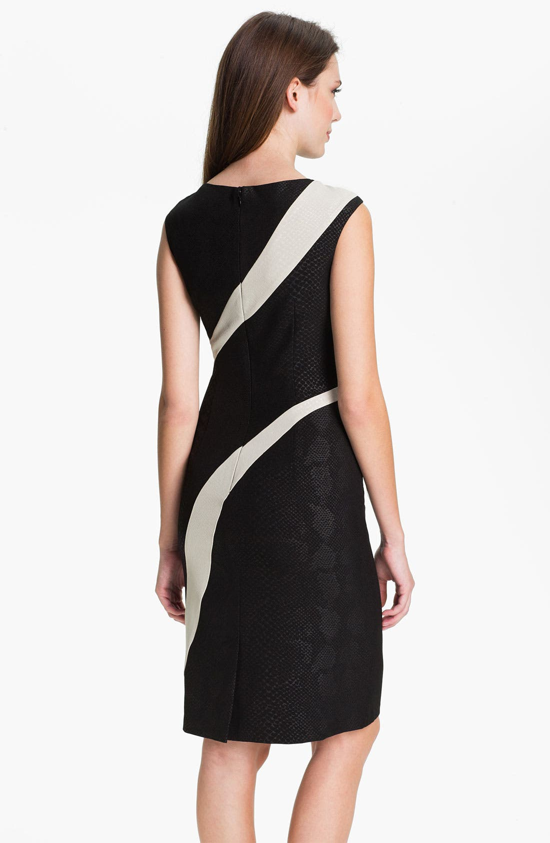 Alternate Image 2  - Adrianna Papell Contrast Panel Snakeskin Pattern Sheath Dress