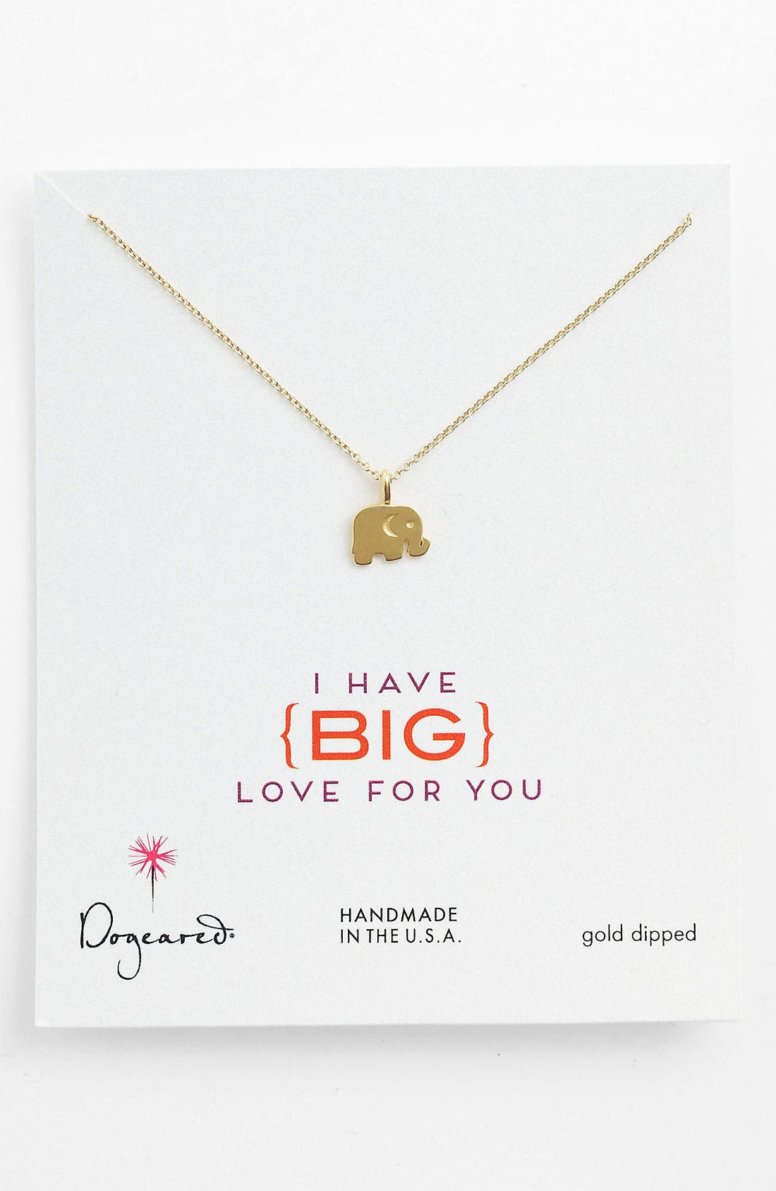 Main Image - Dogeared 'Big Love for You' Elephant Pendant Necklace