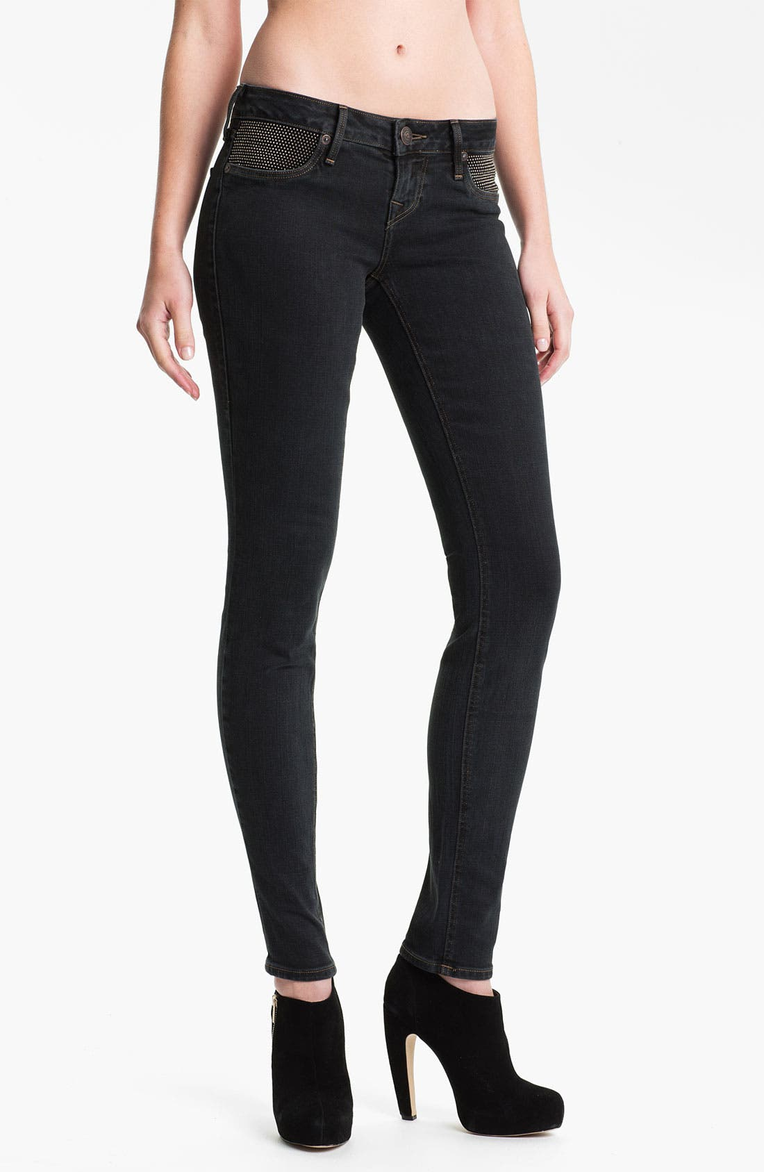 Main Image - True Religion Brand Jeans 'Shannon' Studded Pocket Skinny Jeans (Black Stone)
