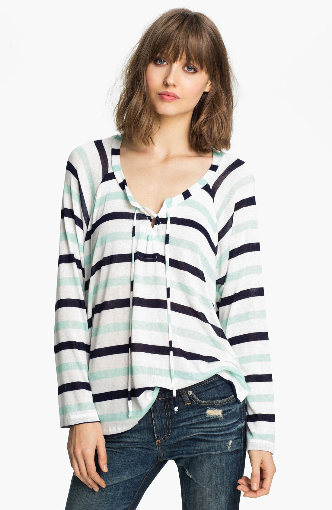 Alternate Image 1 Selected - Splendid 'Clearwater' Stripe Lace-Up Top