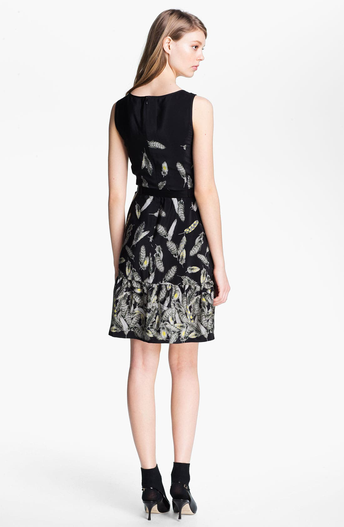 Alternate Image 2  - Miss Wu 'Bella' Belted Feather Print Dress (Nordstrom Exclusive)