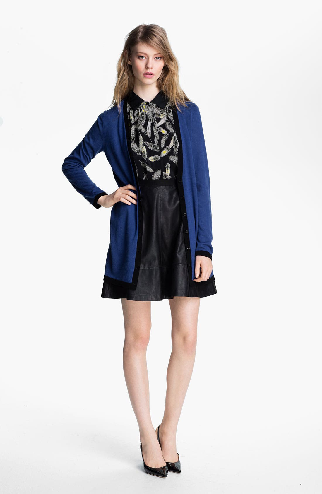 Main Image - Miss Wu Cardigan, Blouse & Skirt