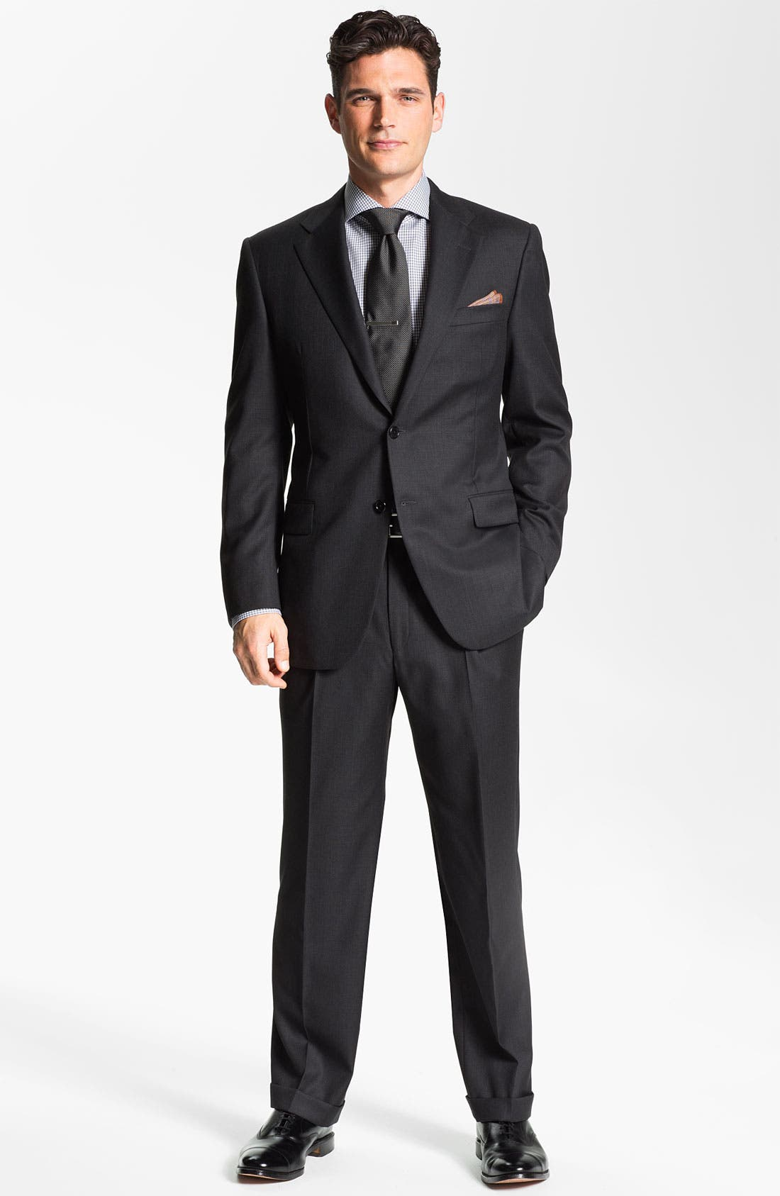 Main Image - Hickey Freeman Charcoal Worsted Wool Suit