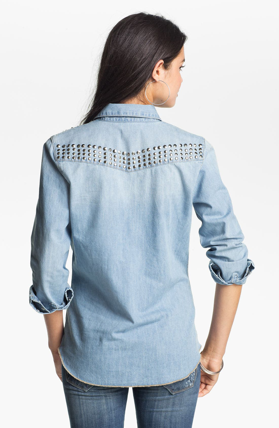 Alternate Image 2  - Jolt Studded Chambray Shirt (Juniors)