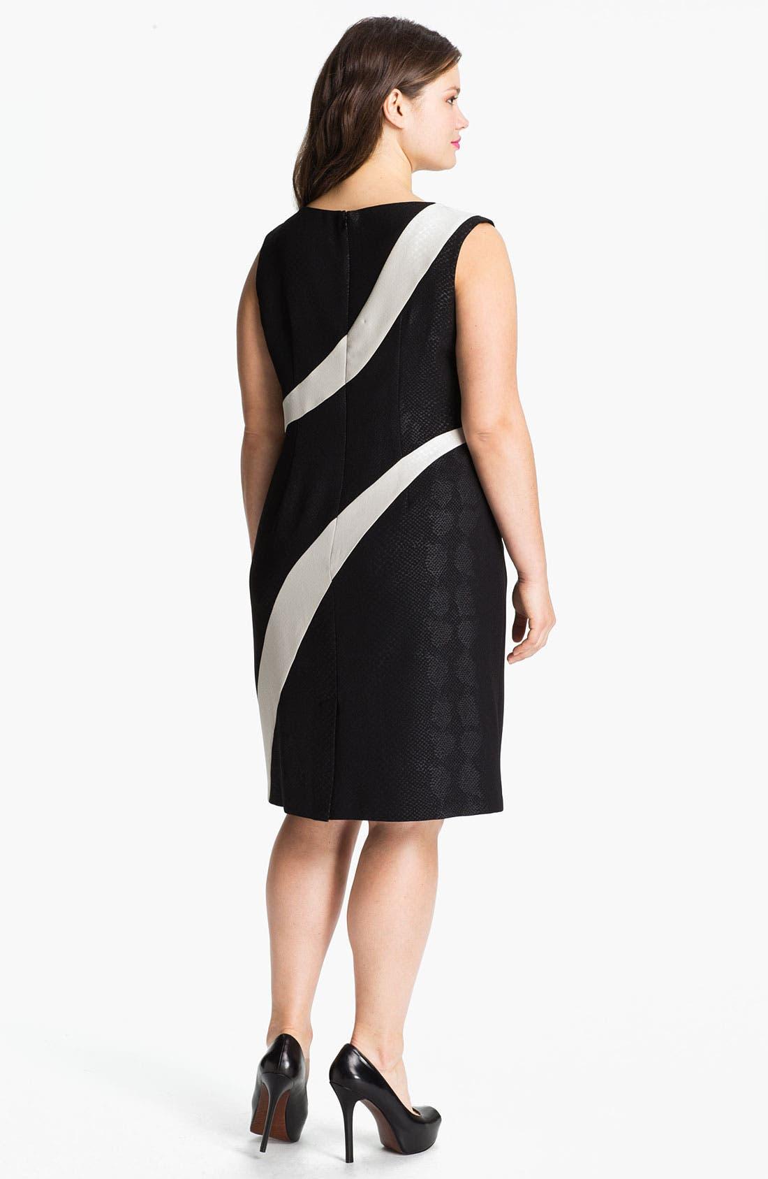 Alternate Image 2  - Adrianna Papell Contrast Panel Snakeskin Pattern Sheath Dress (Plus)