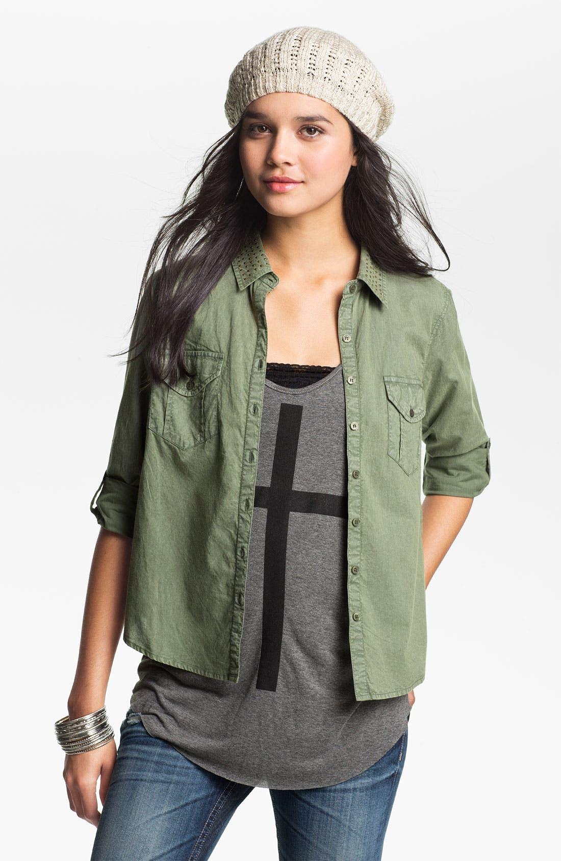 Alternate Image 1 Selected - Fire Stud Collar Army Shirt (Juniors)