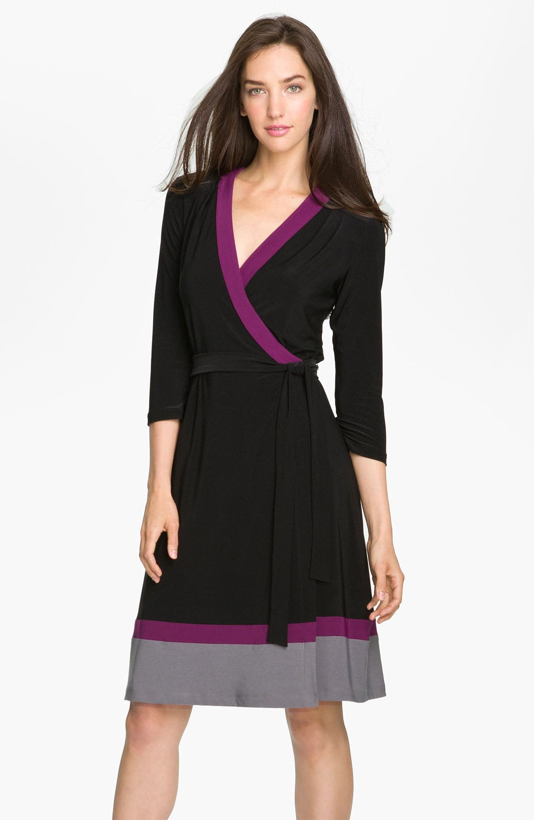 Main Image - Alex & Ava Colorblock Jersey Wrap Dress (Petite)