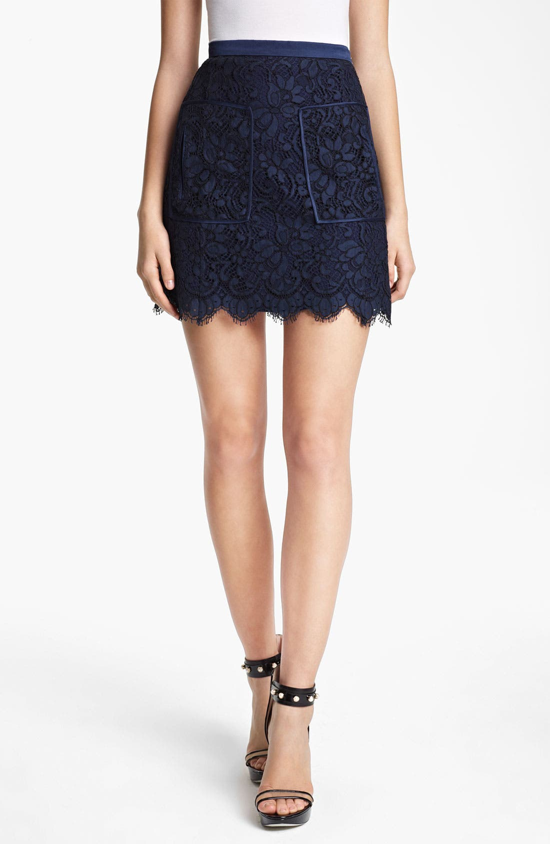 Patch Pocket Lace Skirt,                         Main,                         color, Navy