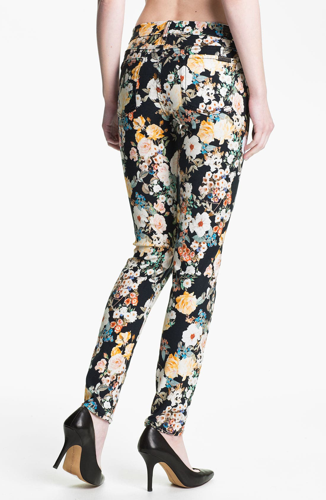 Alternate Image 2  - 7 For All Mankind® 'The Skinny' Print Jeans (Midnight Floral)