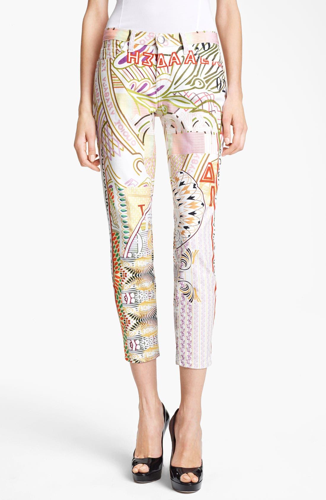 Alternate Image 1 Selected - Mary Katrantzou Print Cigarette Leg Crop Jeans