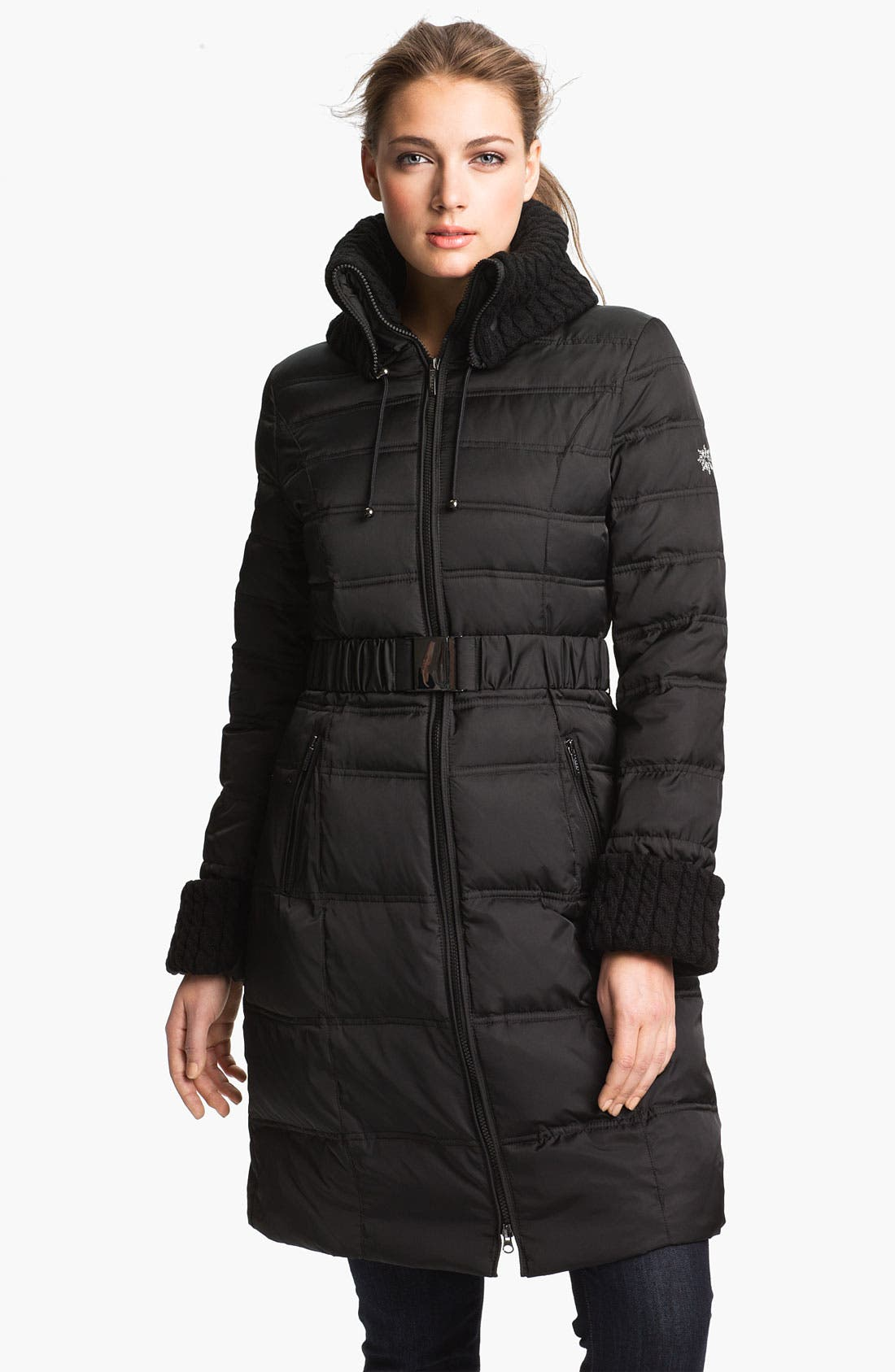 Alternate Image 1 Selected - Laundry by Shelli Segal Knit Trim Quilted Coat