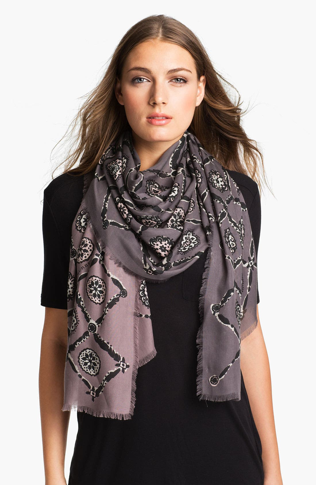 Main Image - Burberry Printed Tile Floral Scarf