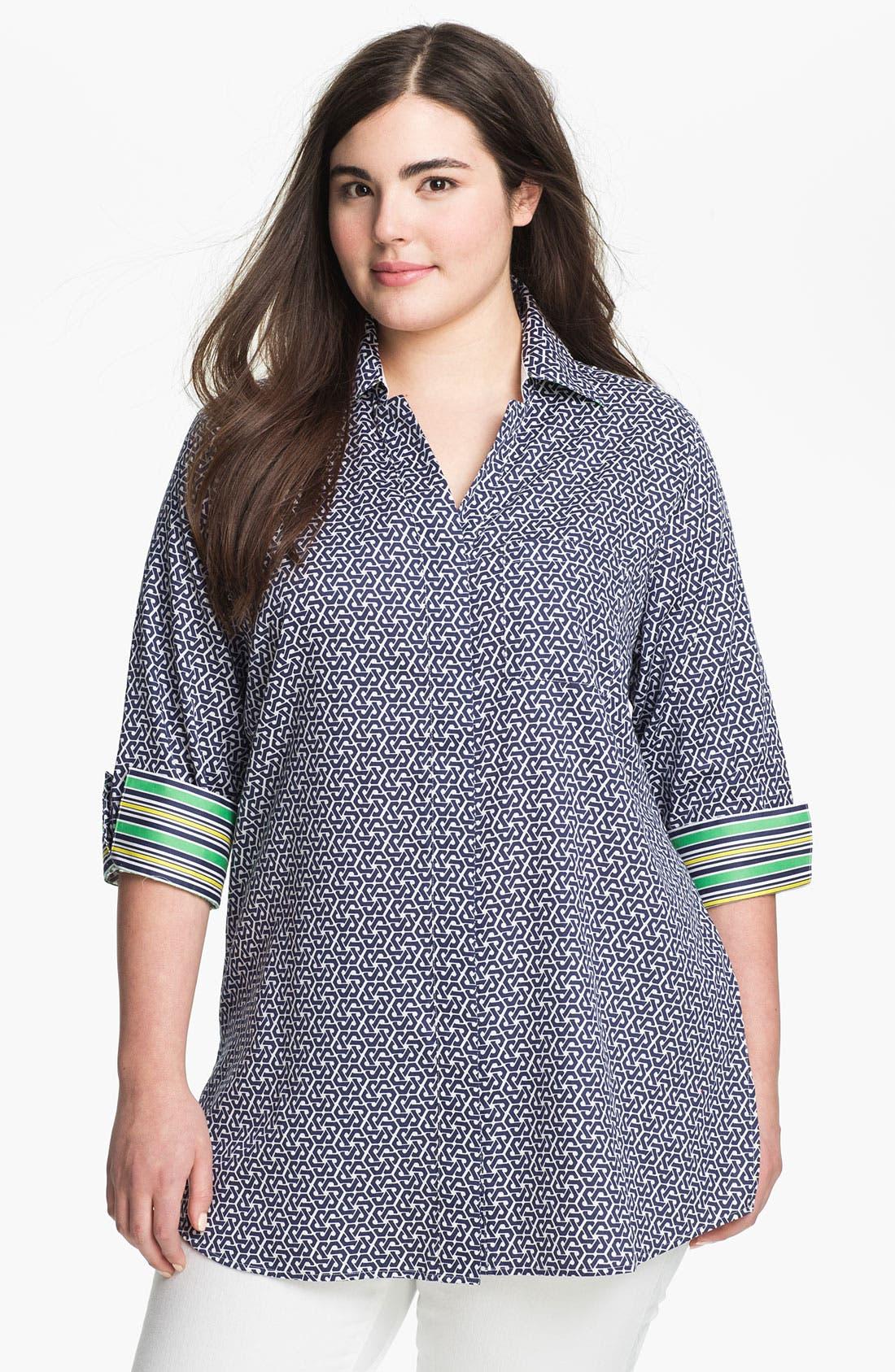 Main Image - Foxcroft Status Print Shaped Tunic (Plus Size)