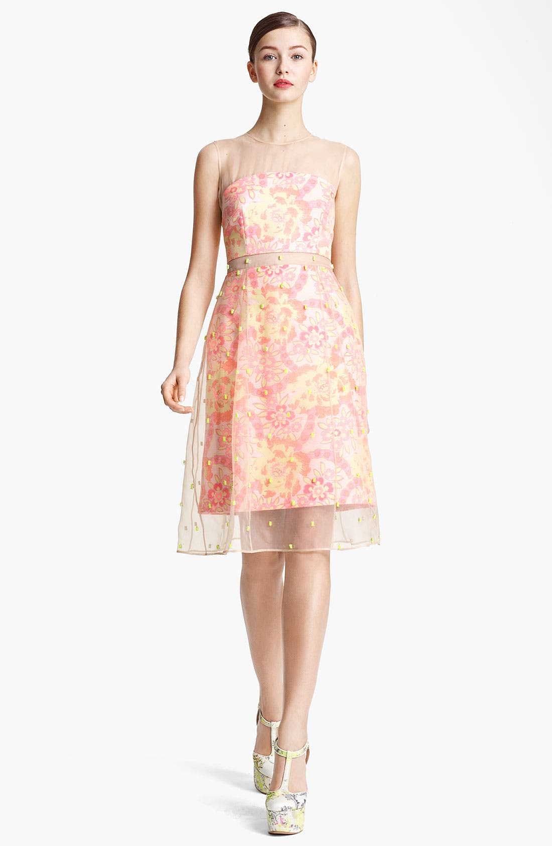 Main Image - Erdem Damask Jacquard & Beaded Organza Dress