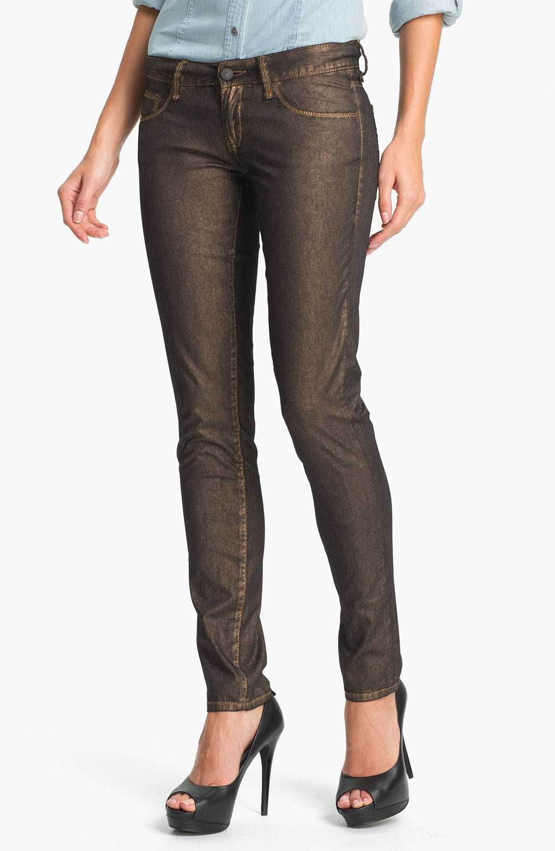 Main Image - Mavi Jeans 'Serena' Metallic Coated Skinny Jeans (Online Exclusive)