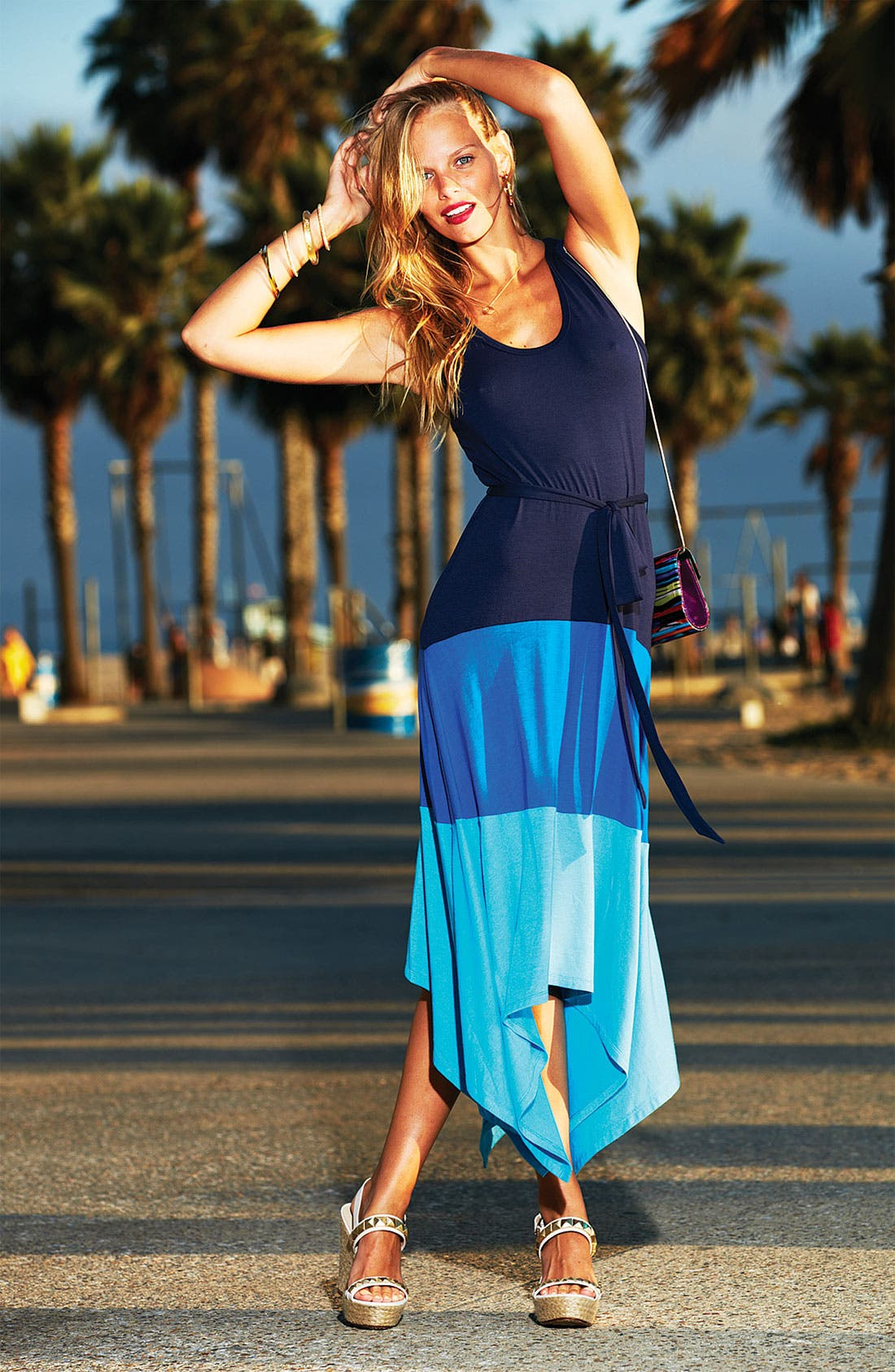 Alternate Image 4  - Calvin Klein Colorblock High/Low Jersey Maxi Dress