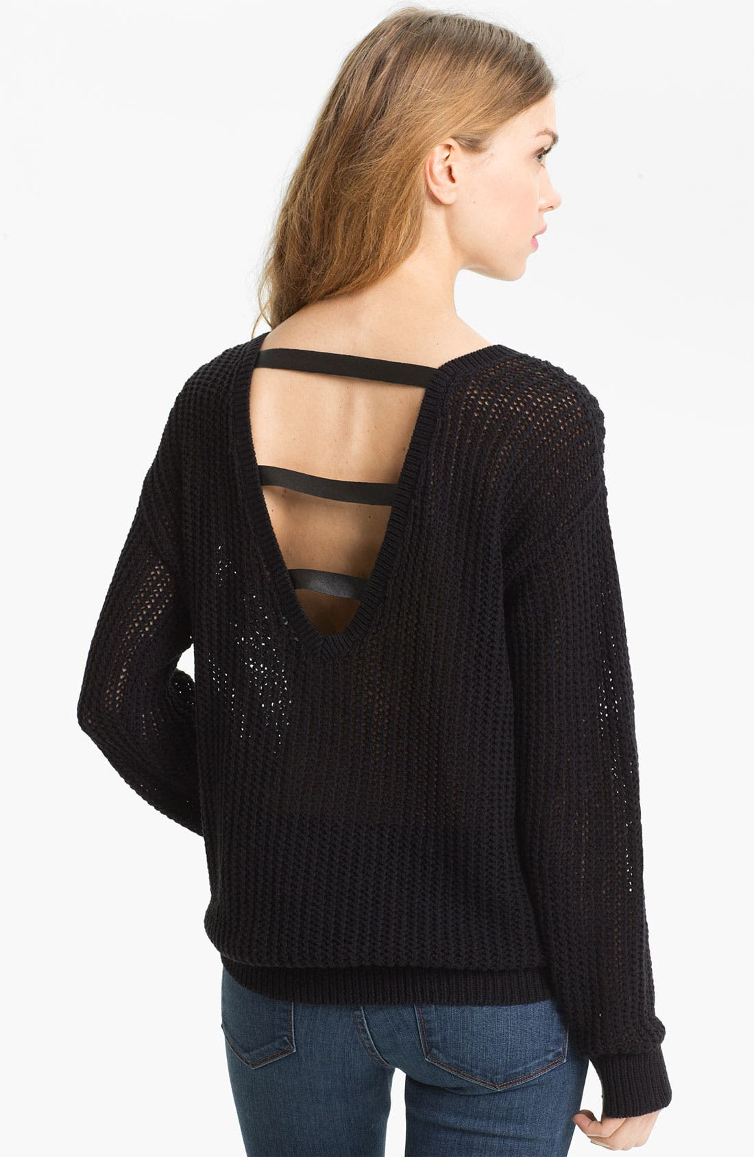 Alternate Image 2  - Trouvé Sheer Lattice Cutout Sweater