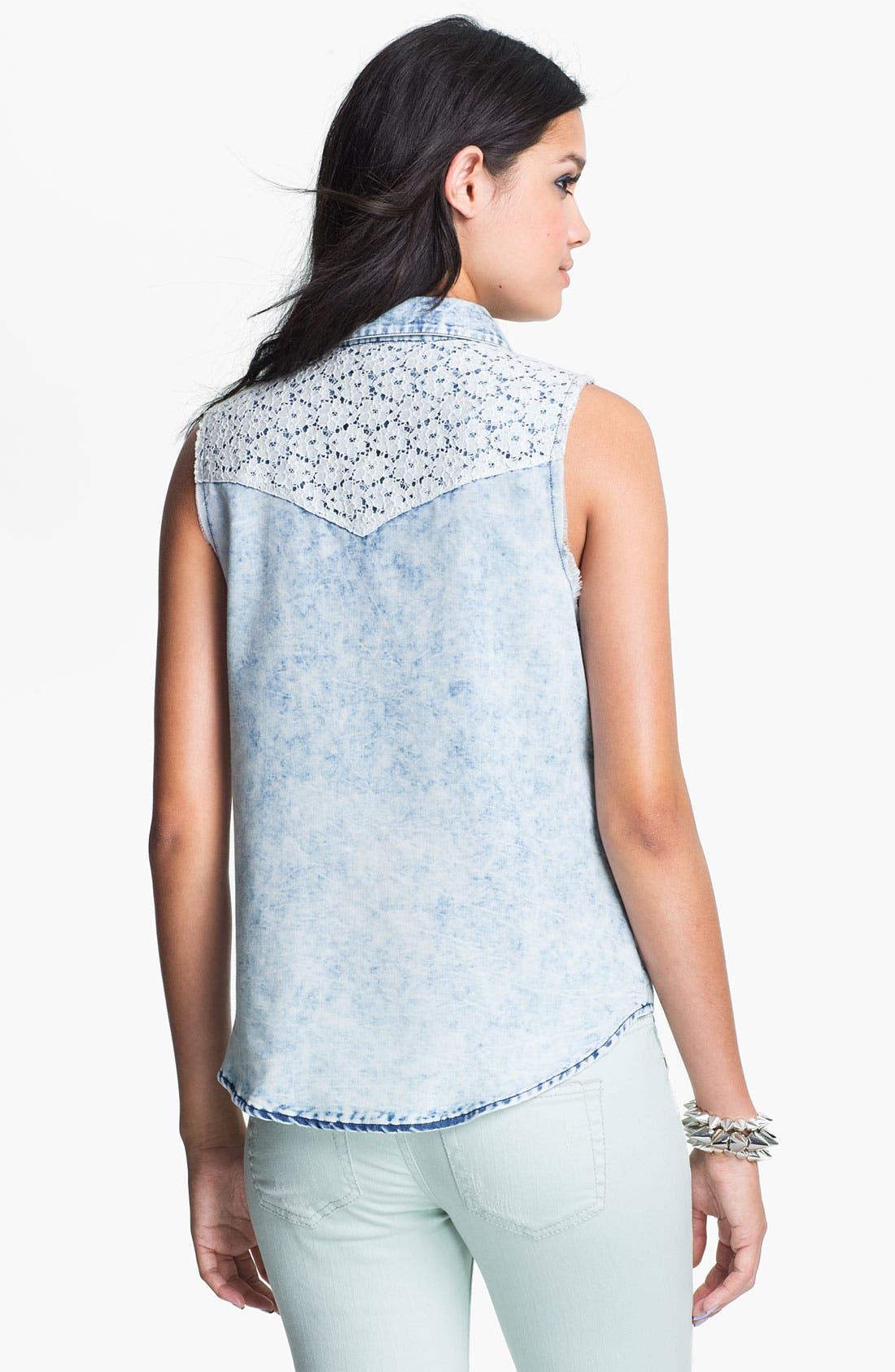 Alternate Image 2  - Mimi Chica Lace Trim Cutoff Chambray Shirt (Juniors)