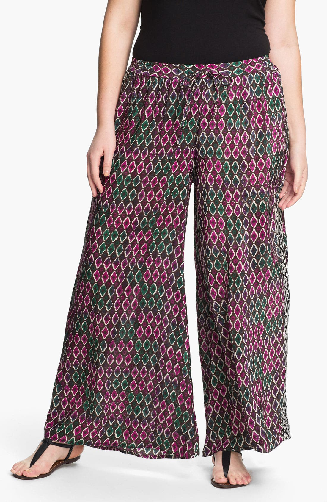 Alternate Image 1 Selected - Tolani Silk Palazzo Pants (Plus Size) (Online Only)